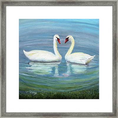 Loving Swan Framed Print
