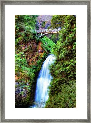 Lower Multnomah Waterfall In The Columbia River Gorge Framed Print
