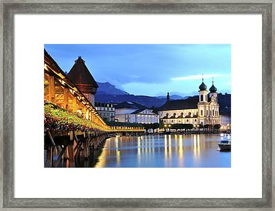 Lucerne At Dusk Framed Print by Aimintang