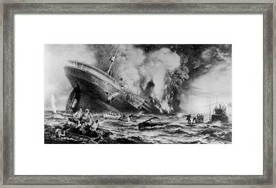 Lusitania Sunk Framed Print by Three Lions
