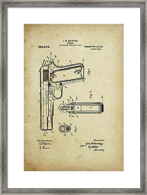 M1911 Browning Pistol Patent Framed Print