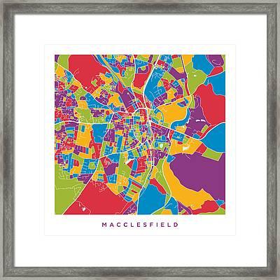 Macclesfield City Map Framed Print