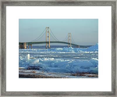 Mackinac Bridge In Ice 2161801 Framed Print
