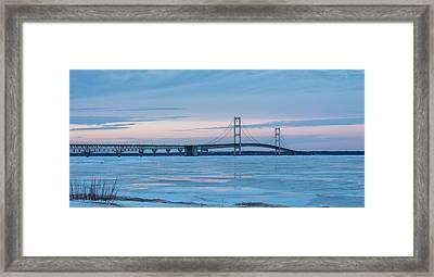 Mackinac Bridge In Ice 2161803 Framed Print