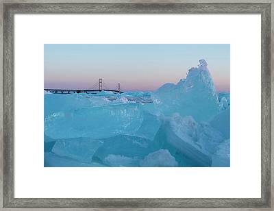 Mackinac Bridge In Ice 2161805 Framed Print