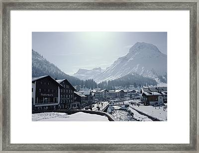 Main Street In Lech Framed Print by Slim Aarons