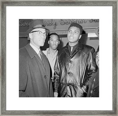 Malcolm X Left With Cassius Marcellus Framed Print