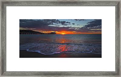 Malibu Pier Sunrise Framed Print