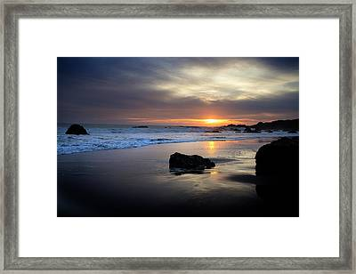 Framed Print featuring the photograph Malibu Sunset by John Rodrigues