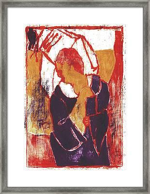 Man Sat On A Village Wall 2 Framed Print