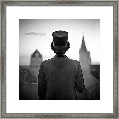 Man Standing Front Of Cathedral Framed Print
