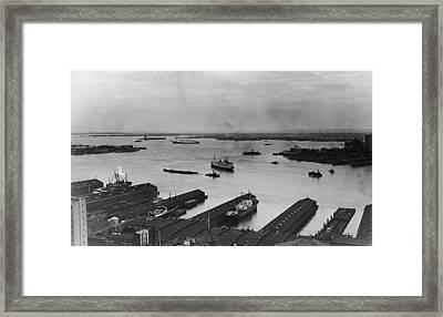 Manhattan Docks On The Hudson River Framed Print by Frederic Lewis