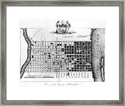 Map Of Colonial Philadelphia Framed Print by Hulton Archive