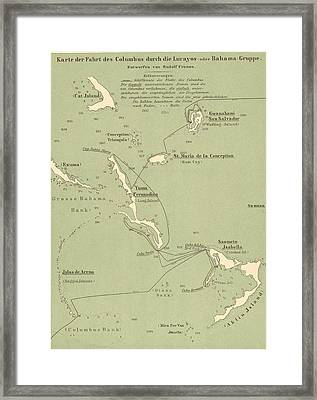 Map Of Columbus Route In Bahamas Framed Print by Kean Collection