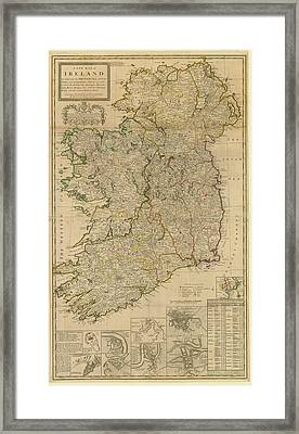 Map Of Ireland From 1714 Framed Print