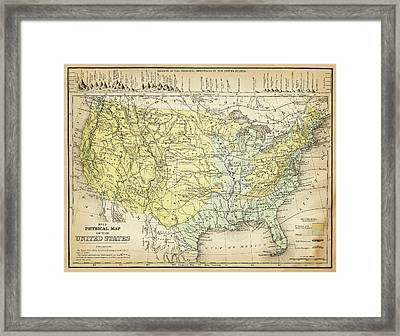 Map Of Usa 1867 Framed Print