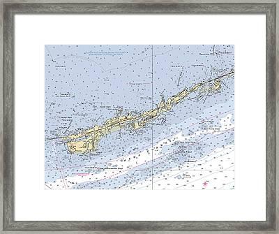 Marathon And Duck Keys Custom Noaa Nautical Chart Framed Print