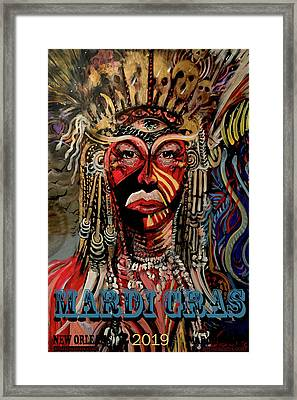 Framed Print featuring the painting Mardi Gras 2019 by Amzie Adams