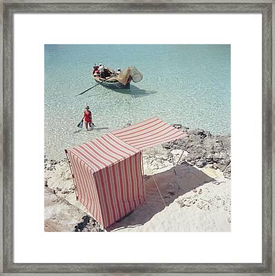 Marietine Birnie, Blue Lagoon Framed Print by Slim Aarons