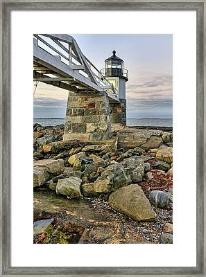 Marshall Point Light From The Rocks Framed Print