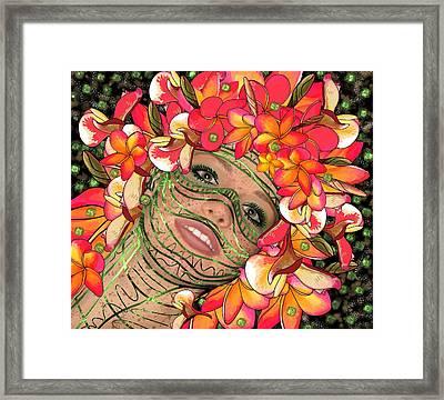 Mask Freckles And Flowers Framed Print
