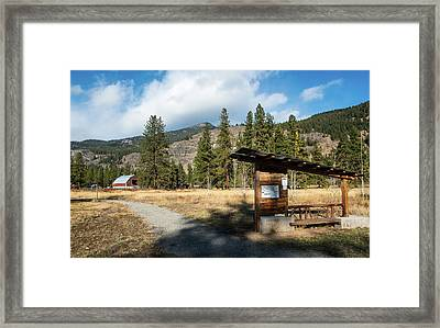 Mazama Barn Trail And Bench Framed Print
