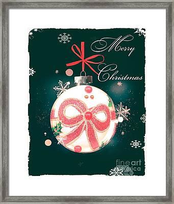 Framed Print featuring the photograph Merry Christmas Ribbon Ornament by Rachel Hannah