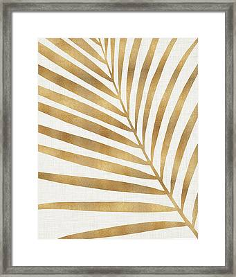 Framed Print featuring the mixed media Metallic Gold Palm Leaf by Kristian Gallagher