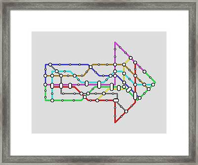 Metro Map Framed Print by Jorg Greuel