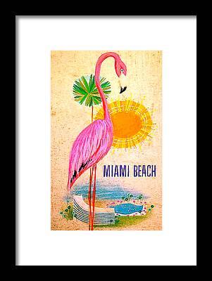 Flamingo Hotel Framed Prints