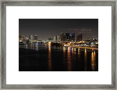 Miami Lights At Night Framed Print