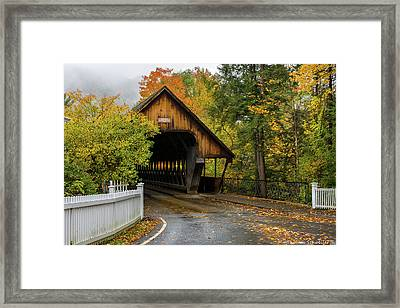 Framed Print featuring the photograph Middle Covered Bridge - Woodstock Vermont by Expressive Landscapes Fine Art Photography by Thom