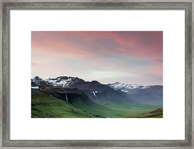 Midnight Sun In Iceland Framed Print