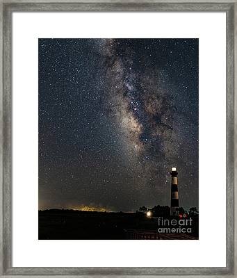 Framed Print featuring the photograph Milky Way And Bodie Lighthouse by Terry Rowe