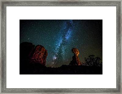 Framed Print featuring the photograph Milky Way Over Balanced Rock by David Morefield