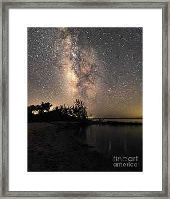 Framed Print featuring the photograph Milky Way Over Pamlico Sound by Terry Rowe