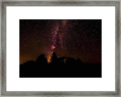 Framed Print featuring the photograph Milky Way Over Turret Arch by Andy Crawford