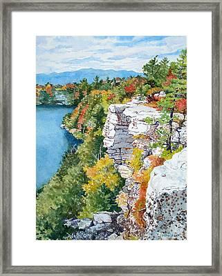 Minnewaska Fall Cliff Framed Print by Mira Fink