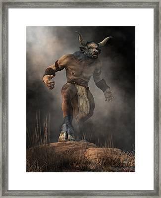 Framed Print featuring the digital art Minotaur by Daniel Eskridge
