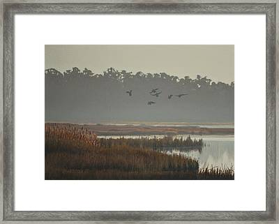 Framed Print featuring the painting Misty Marsh by Peter Mathios