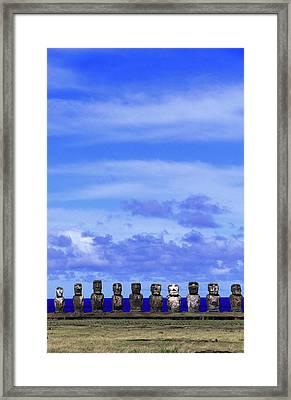 Moai At Ahu Tongariki, Easter Island Framed Print by Buena Vista Images