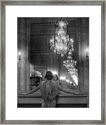Model In Ostrich Feather-trimmed Gown Pa Framed Print