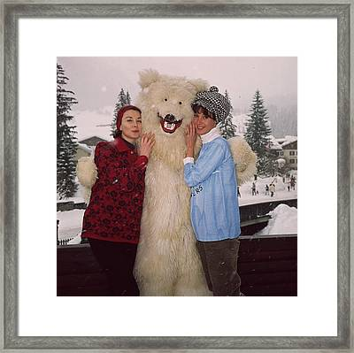 Models And Bear Framed Print by Slim Aarons