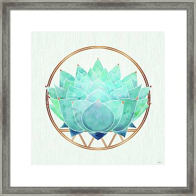 Framed Print featuring the mixed media Modern Blue Succulent With Metallic Accents by Kristian Gallagher