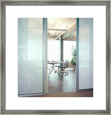 Modern Office Interior Framed Print by Walter Zerla