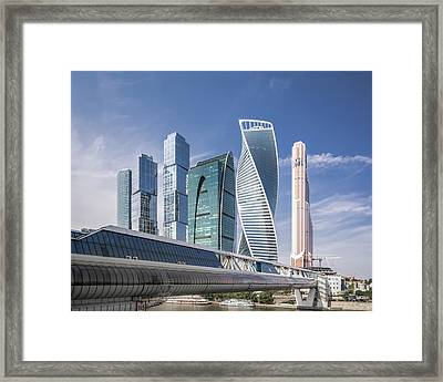 Modern Skyscrapers In Moscow Framed Print by Yongyuan Dai