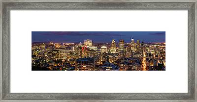 Framed Print featuring the photograph Montreal Panorama At Night by Pierre Leclerc Photography