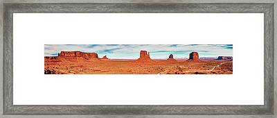 Framed Print featuring the photograph Monument Valley Panorama by Andy Crawford