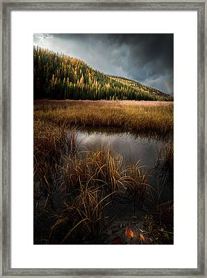 Moody Skies And Rainbows / Whitefish, Montana  Framed Print