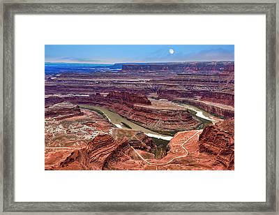 Framed Print featuring the photograph Moon Over Deadhorse Point by Andy Crawford